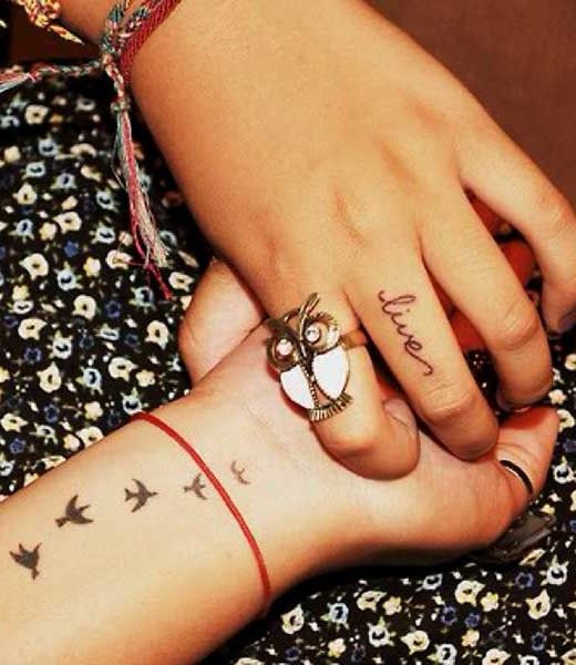 Cool and small bird tattpp design on wrist for women