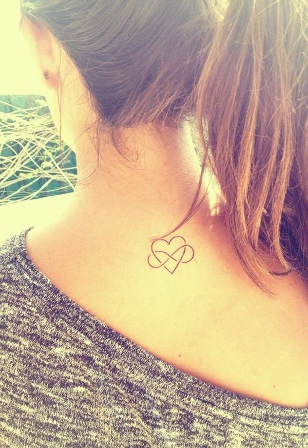 Cool small heart tattoo on neck for romantic girls