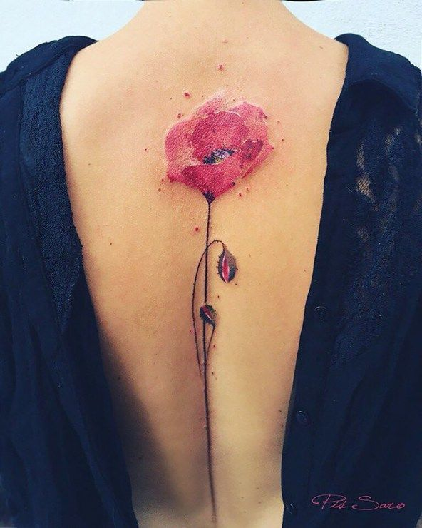 Cute red flower tattoo design on back for hot looking girls
