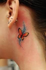 Exclusive colored butterfly tattoo behind ear for amaze look