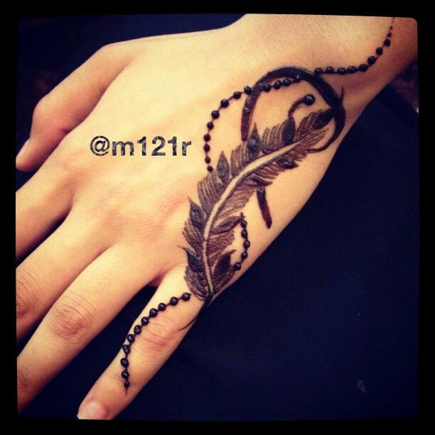 Exclusive feather tattoo on hand for sexy look