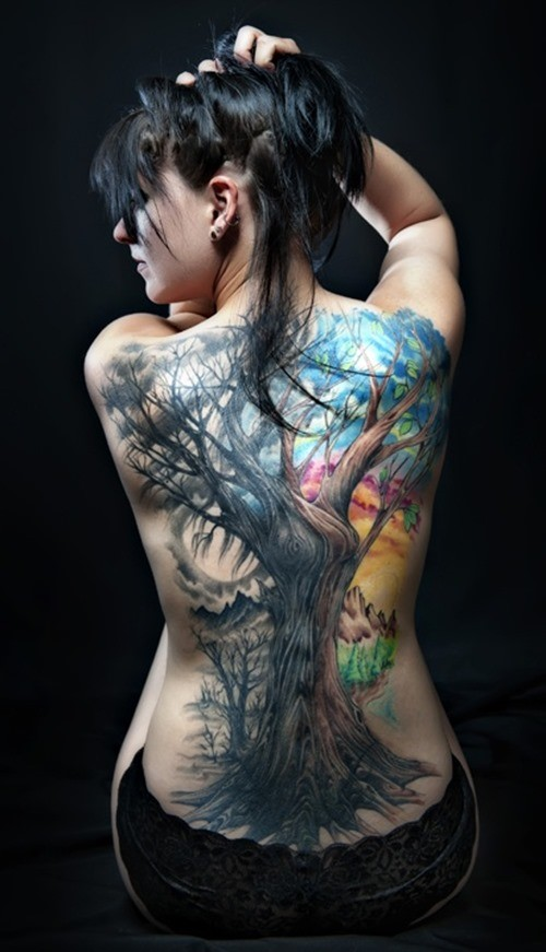 Extremely cool tattoo on back for amazing look