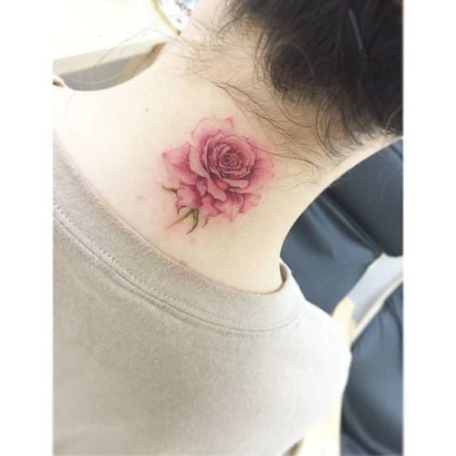 Extremely small rose tattoo for girls on back neck