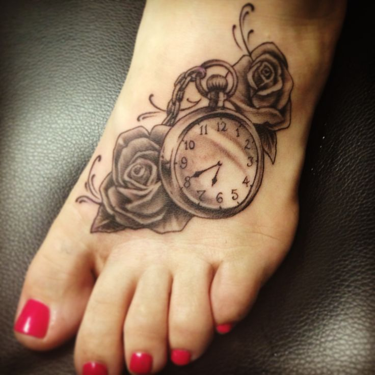Fabulous clock tattoo design for foot