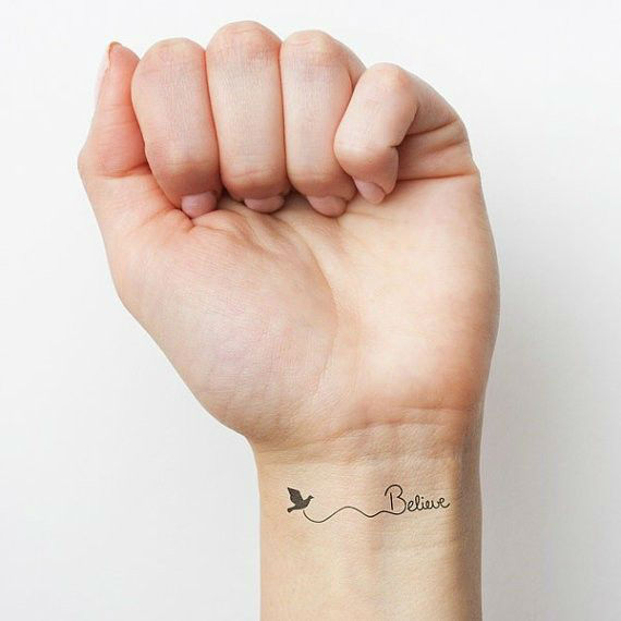Fabulous small belive in success tattoo on wrist