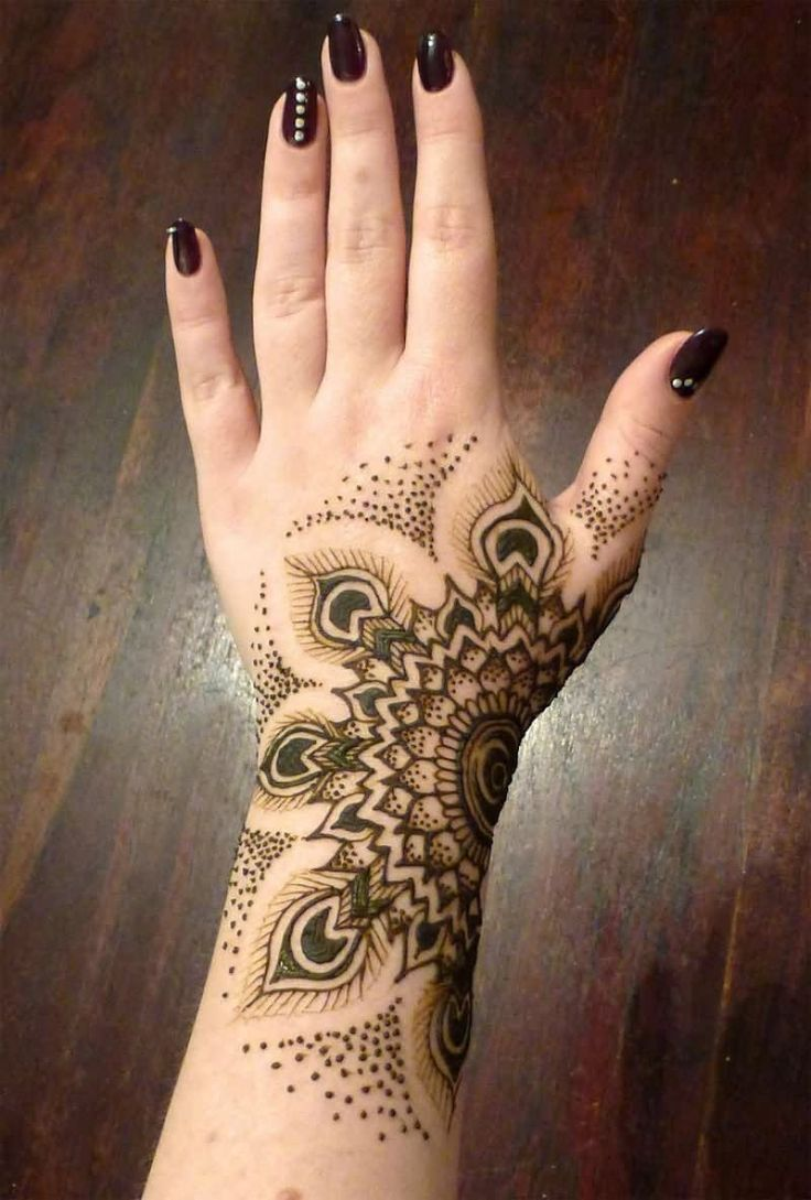 Fantastic semi circular flower tattoo on hand for girls