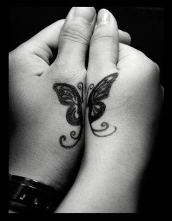 Great small butterfly tattoo for couple