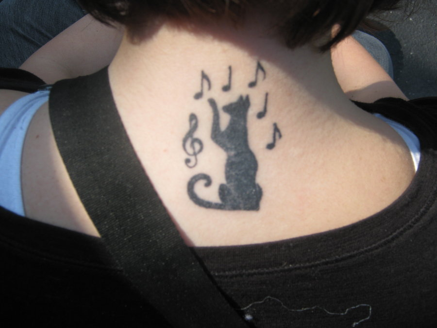 Horny cat tattoo design on neck for horny girls