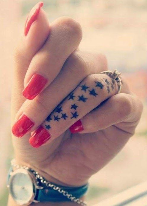 Shinning star tattoo design on finger for cute look
