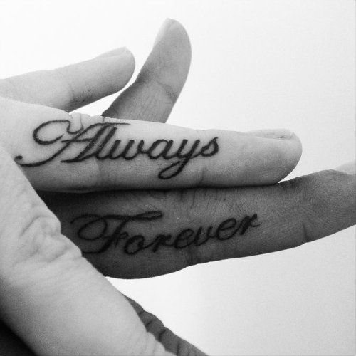 cool small couple tattoo on fingers