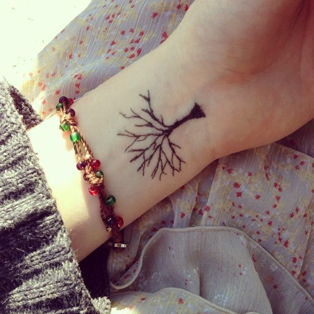 fantastic small tree tattoo on wrist for girls