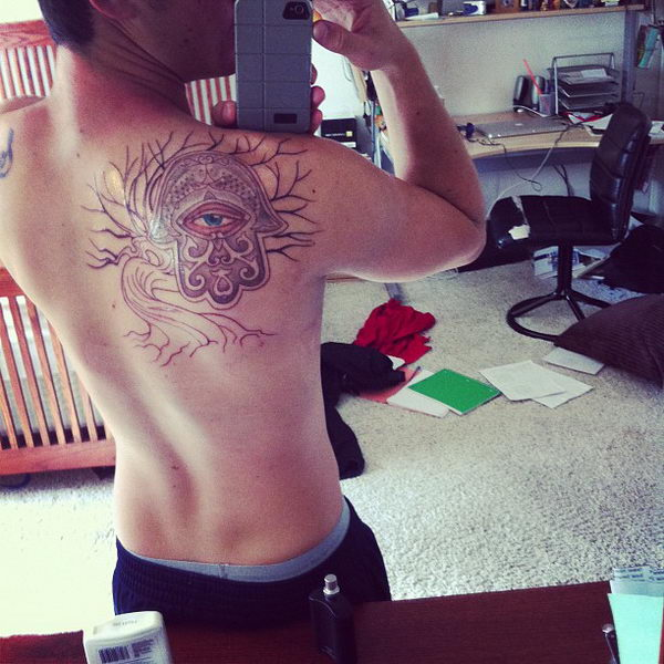 1 @ hamsa tattoo on shoulder