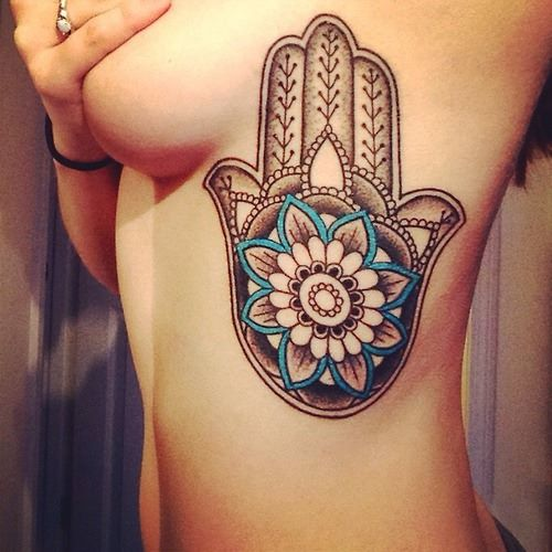 19 @ hamsa tattoo on rib for girls