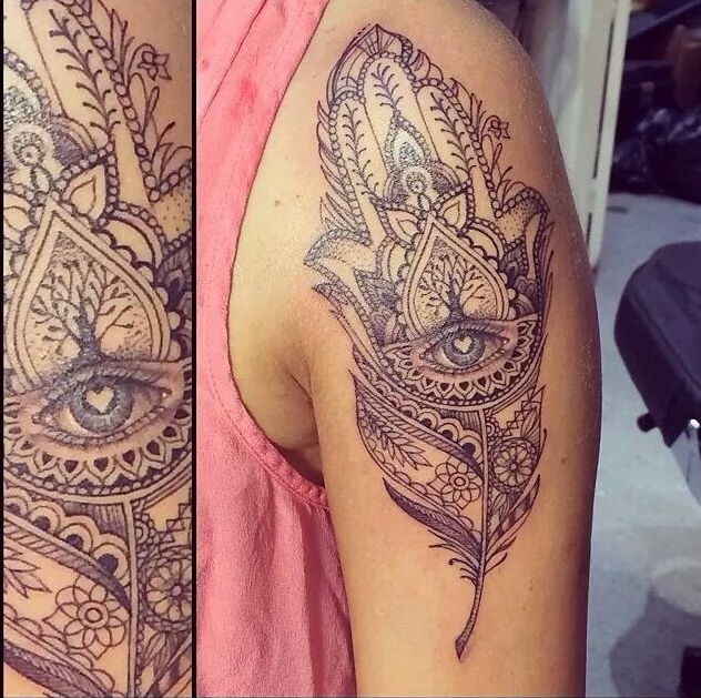 22 @ hamsa tattoo on arm