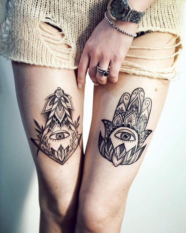 26 @ hamsa tattoo on legs