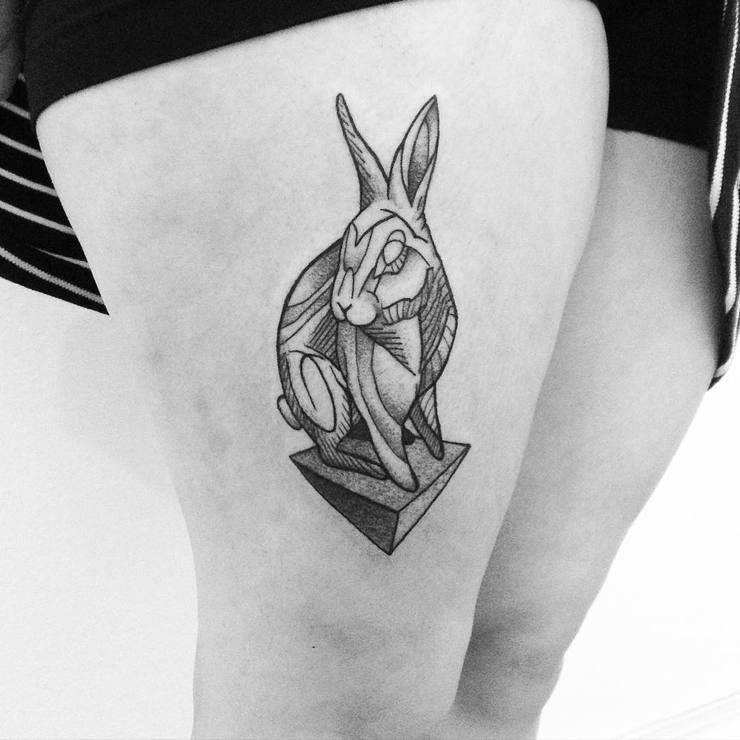 3d alice tattoo on thigh in black