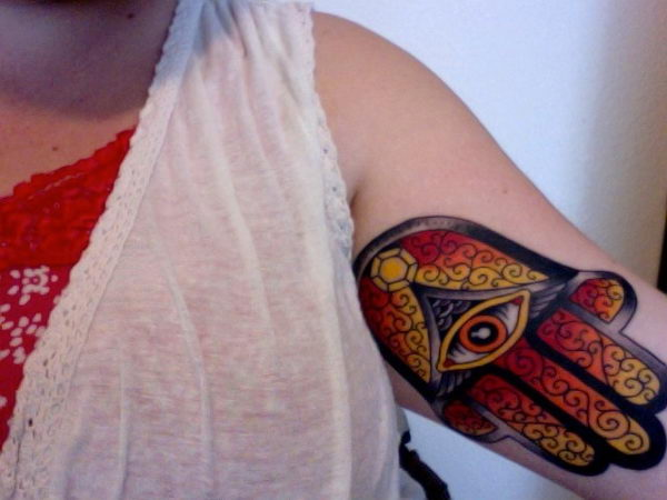 5 @ hamsa tattoo on arm colorful
