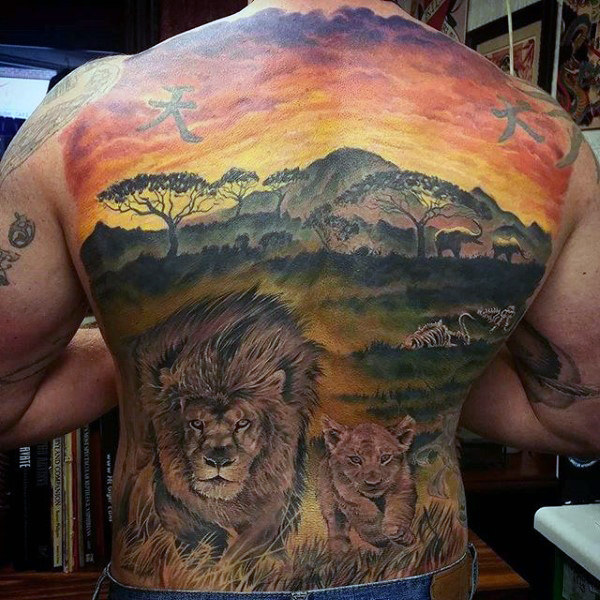 African zoo lion tattoo design on back