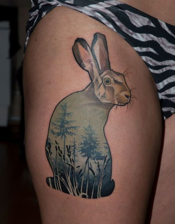 Amazing colorful rabbit tattoo on leg