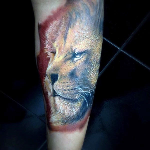 Artistic arm lion tattoo by artist