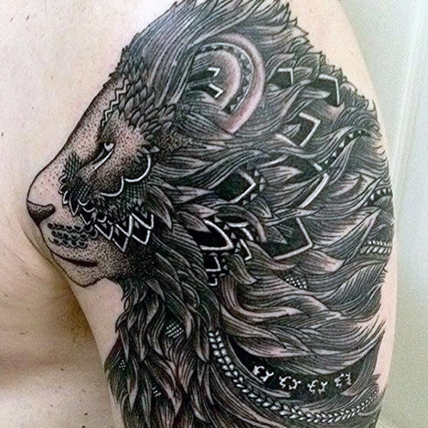 Artistic lion tattoo by famous artist