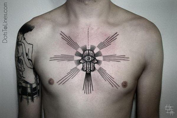 Awesome hamsa tattoo on chest - 7868767