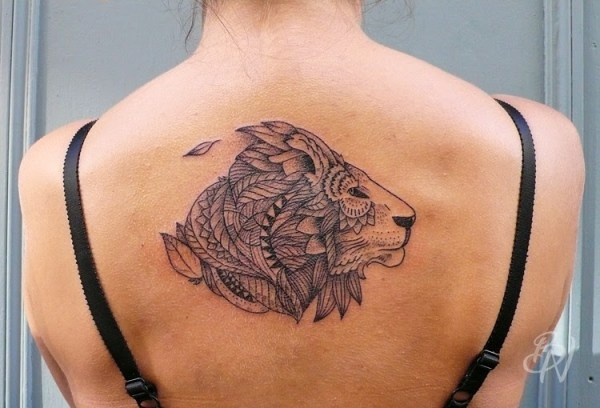 Back lion tattoo design for girls