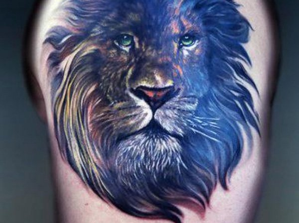 Colorful lion tattoo on back