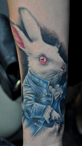 Cool colored rabbit tattoo design ideas
