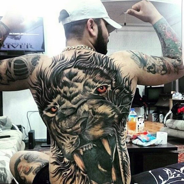 Exclusive men lion tattoo design