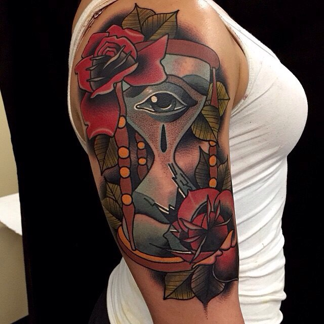 Fabulous hourglass tattoo cool colorful ideas