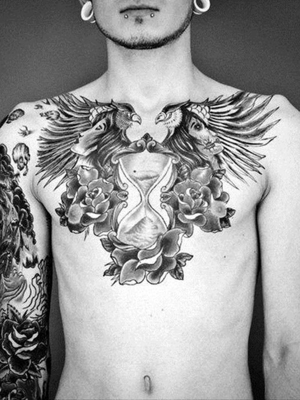 Fantastic chest hourglass tattoo hot ideas