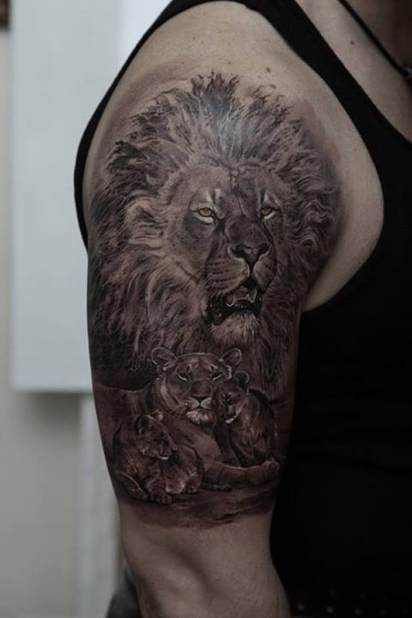 Fantastic lion tattoo for boy