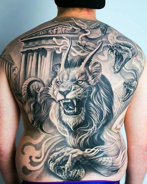 Fearful bacl lion tattoo designs