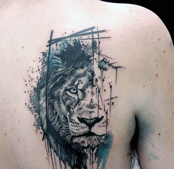 Gorgeous back shoulder lion tattoo designs