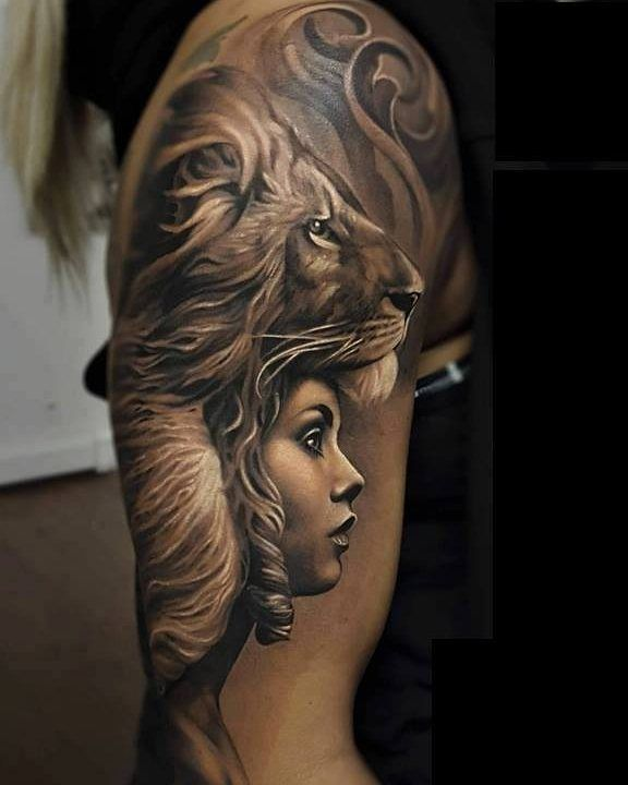 Great lion tattoo design art