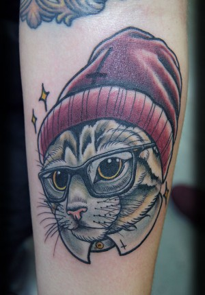 Great rabbit tattoo with cap art & idea
