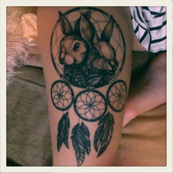 Great rabbit tattoo with dreamcatcher symbol idea