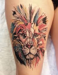 Horrific Lion tattoo on arm