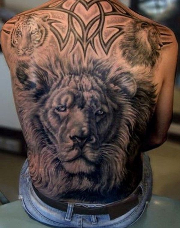 Horrify lion tattoo on back