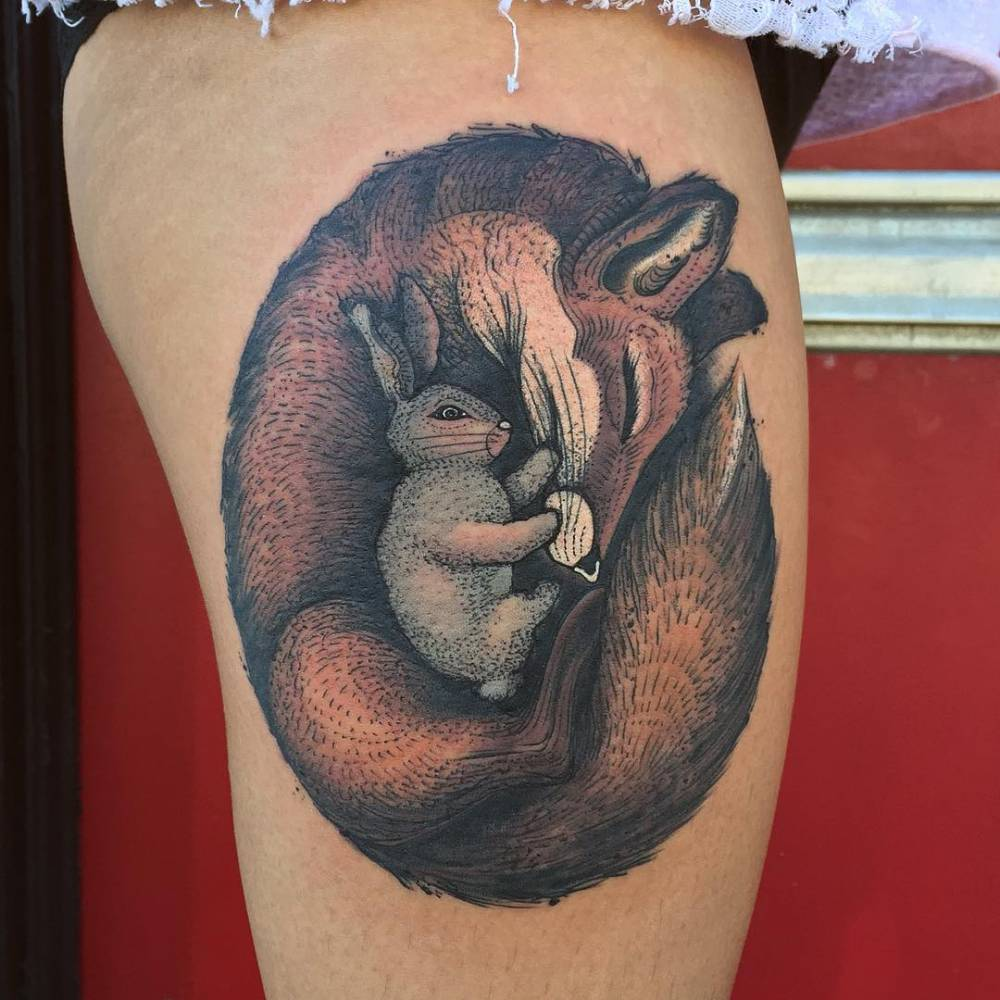 Hot bunny tattoo on thight for girls