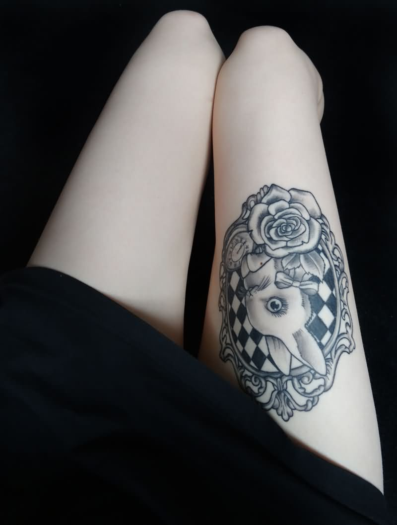 Hot rabbit tattoo design and ideas on thigh