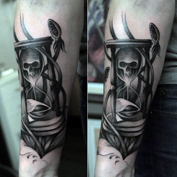 Latest hourglass tattoo cool colorful idea designs