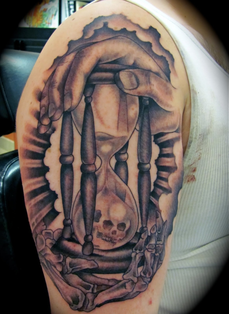 New hourglass tattoo cool colorful ideas