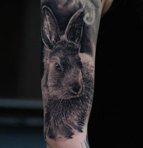 Perfect colored rabbit tattoo design diary