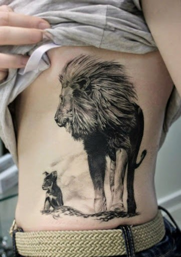 Rib lion tattoo for girls