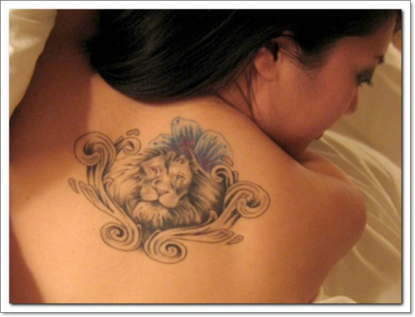 South african lion tattoo on back