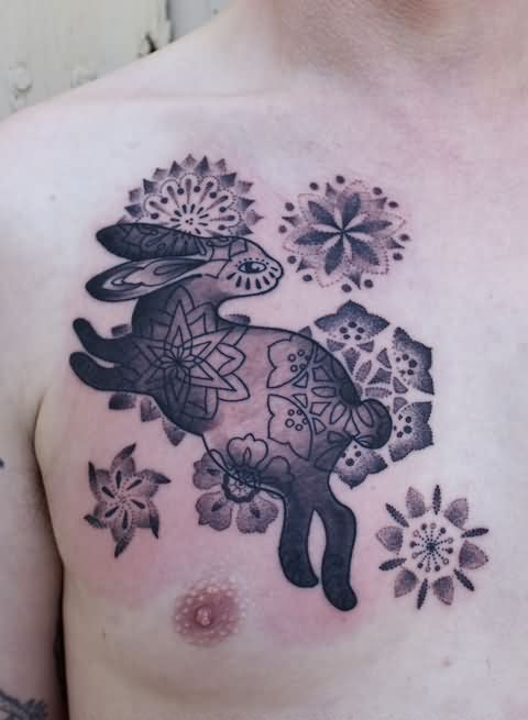 Superb bunny tattoo design and idea on chest