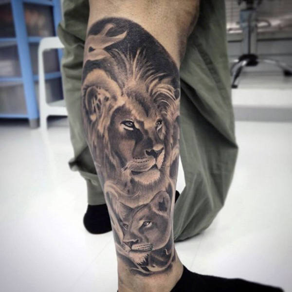 Terrible lion tattoo on leg