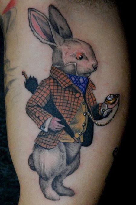 Unique rabbbit tatoo on arm for boys